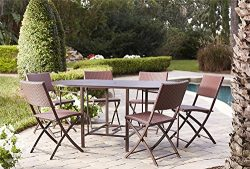 Cosco Outdoor Dining Set with Chair Storage, Folding, 7 Piece, Dark Brown and Red Wicker