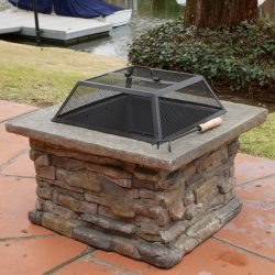 Elegant 29″ Outdoor Patio Firepit w/ Iron Fire Bowl, Stone Base, & Mesh Cover