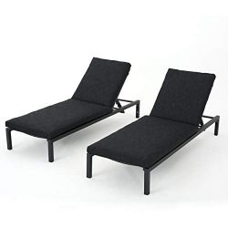 Great Deal Furniture Nealie Outdoor Mesh Black Aluminum Frame Chaise Lounge w/Water Resistant Cu ...