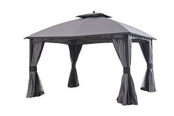 Sunjoy 12′ x 10′ Mirage Soft top Gazebo with Netting and Curtain, Gray/Black Trim