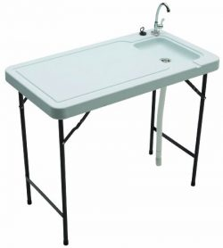 Tricam Outdoor Fish and Game Cleaning Table with Quick-Connect Stainless Steel Faucet, 150-Pound ...