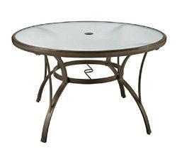 PF 48″ Patio Round Dining Glass Table Garden Furniture