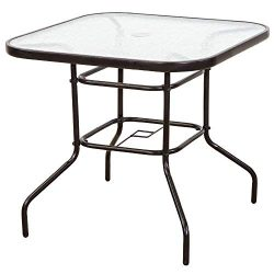 FurniTure Outdoor Patio Table Patio Tempered Glass Table 32″ Patio Dining Tables with Umbr ...