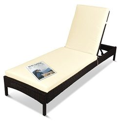 Outdoor Patio Reclining Chaise Lounge Chair, Adjustable Resin Wicker Lounger Furniture with Rust ...