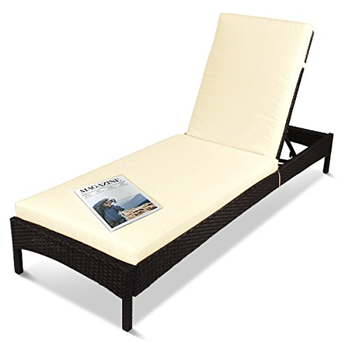 Outdoor Patio Reclining Chaise Lounge Chair Adjustable