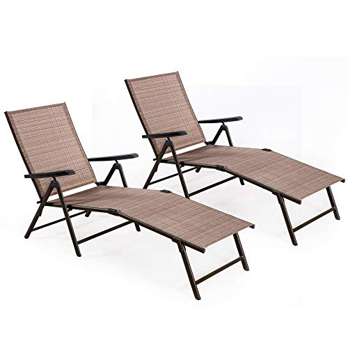 Homevibes 2 Pack Lounge Chair Outdoor Adjustable Chaise