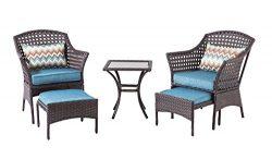Backyard Classics Bainbridge 3-Piece Wicker Chair Set with Ottoman