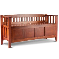 Giantex Outdoor Patio Bench w/Storage and Arms Solid Wood Construction with Short Split Seat Too ...