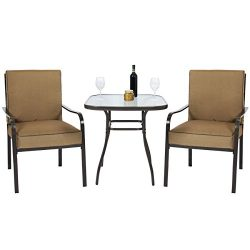 Best Choice Products 3pc Outdoor Patio Bistro Set W/Glass Top Table, 2 Chairs W/Cushions