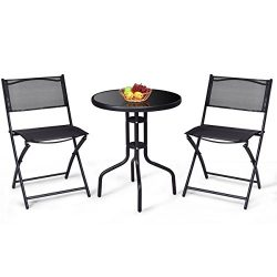Giantex 3 Pcs Bistro Set Garden Backyard Round Table Folding Chairs, with Rust-Proof Steel Frame ...