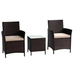 Transpearl 3 Pieces Rattan Furniture Set, Indoor Outdoor Use(2 Seats 1 Table) All Weather Use Fu ...