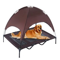 SUPERJARE XLarge Outdoor Dog Bed Elevated Pet Cot with Canopy | Portable for Camping or Beach |  ...