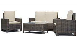 Patio Sofa Set 4pcs Outdoor Furniture Set PE Rattan Wicker Cushion Outdoor Garden Sofa Furniture ...