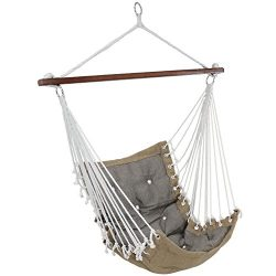Sunnydaze Tufted Victorian Hammock Chair Swing, Indoor or Outdoor Hanging Seat, Sturdy 300 Pound ...