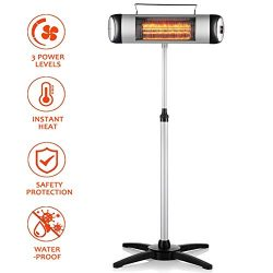 SURJUNY Electric Patio Heater, Vertical Halogen Heater with 3 Power Levels and Remote Control, I ...