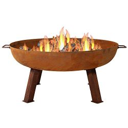 Sunnydaze 34 Inch Large Fire Pit Bowl, Outdoor Wood-Burning, Cast Iron Rustic