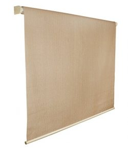 Coolaroo Outback Exterior Roller Shade, Natural Fabric, Cordless Roller Shade with 80% UV Protec ...