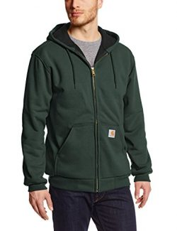 Carhartt Men's Rain Defender Rutland Thermal Lined Hooded Zip Front Sweatshirt, Canopy Gre ...