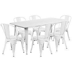 """Flash Furniture 31.5"""" x 63"""" Rectangular White Metal Indoor-Outdoor Table Set with 6  ..."""