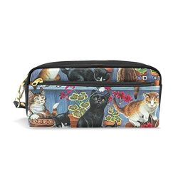 Women Cat Flower Pergola Cosmetic Bags Small Makeup Clutch Pouch Cosmetic and Pencil case Organi ...