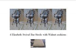 Elizabeth Outdoor Patio Set 4pc Swivel Bar Stools 30″ Cast Aluminum Dark Bronze, Walnut Color