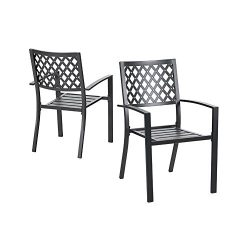 PHI VILLA 300lbs Wrought Iron Outdoor Patio Bistro Chairs with Armrest for Garden,Backyard &#821 ...