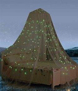 Bed Canopy with Fluorescent Stars Glow in Dark for Baby, Kids, Girls Or Adults, Anti Mosquito As ...
