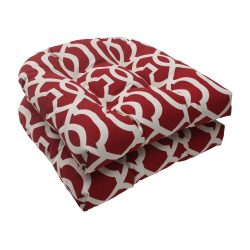 Pillow Perfect Outdoor New Geo Wicker Seat Cushion, Red, Set of 2