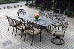 Darlee Elisabeth Cast Aluminum 9 Piece Dining Set with Seat Cushions, 44″ X 84″, Ant ...