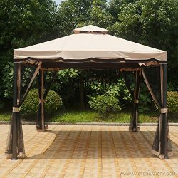 MASTERCANOPY Patio 10X10 Rome Gazebo Canopy Soft Top with Mosquito Netting, GH12N12