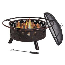 Sunnydaze Bronze Crossweave Outdoor Fire Pit with Spark Screen and Poker, Wood Burning Patio Fir ...