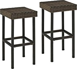 Crosley Furniture Palm Harbor Outdoor Wicker 29-inch Bar Stools – Brown (Set of 2)