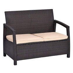 Tangkula Patio Bench Outdoor Garden Poolside Lawn Porch All Weather Rattan Wicker Love Seat Benc ...