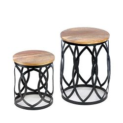 Accent Table, Contemporary Duo Outdoor Side Decor Modern Patio Accent Table