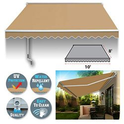 BenefitUSA 10′ x 8′ Manual Retractable Patio Deck Awning Cover, Canopy Sunshade (Beige)