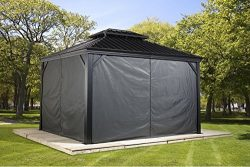 Sojag Polyester Gazebos  Curtains for Messina Hard Top Sun Shelter, 10′ x 12′, Grey