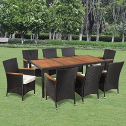 Festnight 9 Piece Outdoor Garden Dining Set Poly Rattan Acacia Table Top