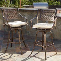 Sierra Outdoor Cast Aluminum Swivel Bar Stools w/Cushion (Set of 2)