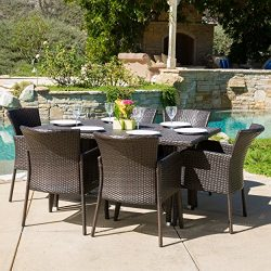 Great Deal Furniture Maple | 7 Piece Wicker Outdoor Dining Set | Perfect for Patio | in Multibrown
