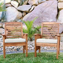 Walker Edison Furniture Company Solid Acacia Wood Patio Chairs (Set of 2) – Brown