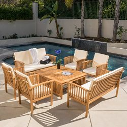 Christopher Knight Home 295746 The Carolina Beckley 8-pc Outdoor Wood Sofa Seating Set, 8 Piece, ...
