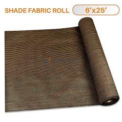 Sunshades Depot 6′ x 25′ Shade Cloth 180 GSM HDPE Brown Fabric Roll Up to 95% Blocka ...