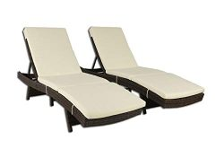 Outime Patio Chaise Lounge Brown PE Rattan Wicker Lounger Chair Adjustable Backrest Cushioned De ...