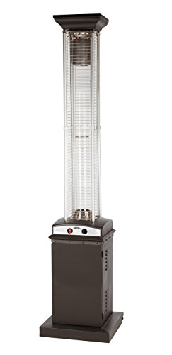 Golden Flame Square Flame Commercial 46,000 BTU (Rich Mocha) Quartz Glass Tube Propane Patio Hea ...