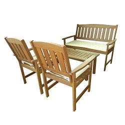 Great Deal Furniture 296508 Shirley 4-Piece Outdoor Wood Chat Set with Cushions