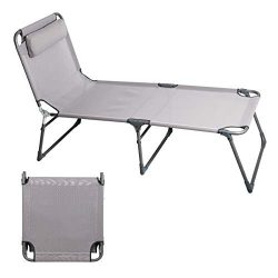 PORTAL Folding Camping Cot Patio Beach Poolside Chaise Lounge Chair Bed Seat Height 15.75″ ...