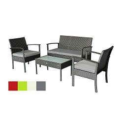 Oakside Small Patio Furniture Set Outdoor Wicker Porch Furniture Loveseat and Chairs with Extra  ...