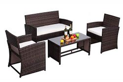 Do4U 4 PCs Patio Furniture Set Brown Wicker Conversation Set with All-Weather Resistant Beige Cu ...