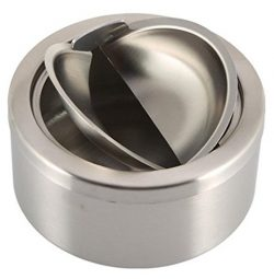 1pc Stainless Steel Cigarette Lidded Ashtray Silver Round Windproof Ashtray with Cover Portable  ...