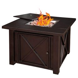 Giantex 38″ Propane Gas Fire Pit Table 40,000 BTU/H Outdoor Square Fire Table W/Lid Cover, ...